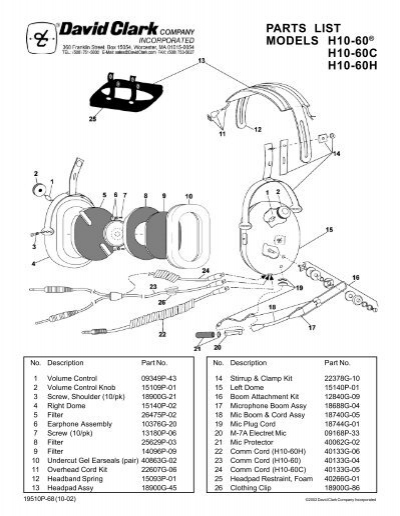 43502789 parts list model h10 76 david clark company incorporated david clark h10-76 wiring diagram at panicattacktreatment.co