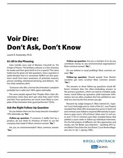 Voir Dire: Don't Ask, Don't Know - Kroll Ontrack