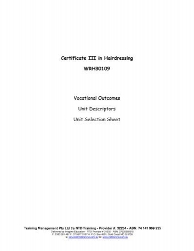 Certificate III in Hairdressing WRH30109 Vocational Outcomes Unit ...
