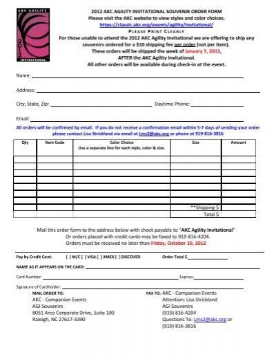 2012 Akc Agility Invitational Souvenir Order Form