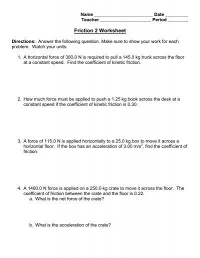 Coefficient Of Friction Worksheet Worksheets Tataiza Free