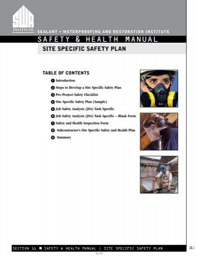 to see a completed sample the Sealant Waterproofing and – Job Site Specific Safety Plan