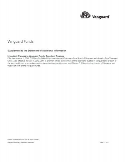 Vanguard Total Bond Market Ii Index Statement Of Additional