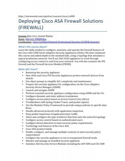 Cisco Asa Firewall Configuration