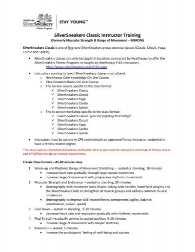 SilverSneakers Classic Instructor Training - FitnessFest