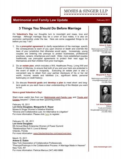 3 Things You Should Do Before Marriage Moses Singer Llp