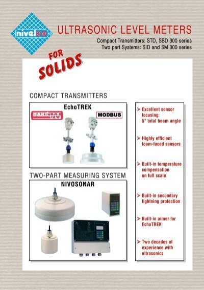 Ultrasonic transmitters for solids - Nivelco Process Control Co , Inc