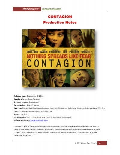 Contagion Production Notes Visual Hollywood