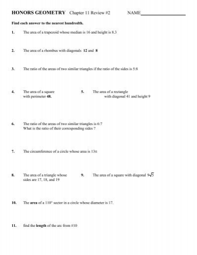 Honors Geometry Chapter 11 Review 2 Name