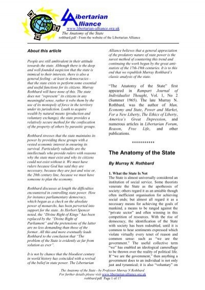 The Anatomy Of The State The Libertarian Alliance