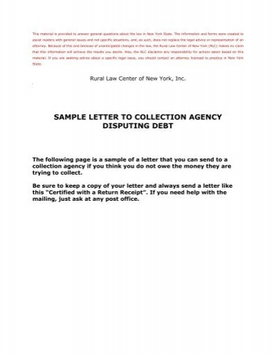 sample letter to collection agency disputing debt rural law center