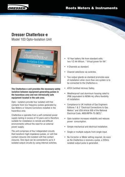 dresser chatterbox e uk metering rh yumpu com Wiring Diagram Symbols Schematic Diagram