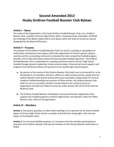 second amended 2012 husky gridiron football booster club bylaws