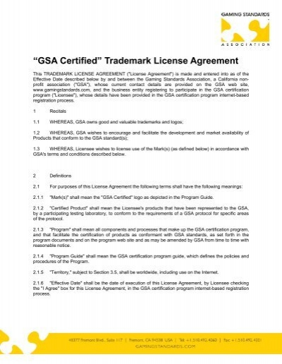 Gsa Certified Trademark License Agreement Gaming Standards