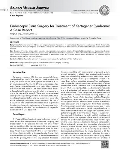 Endoscopic Sinus Surgery For Treatment Of Kartagener Syndrome A