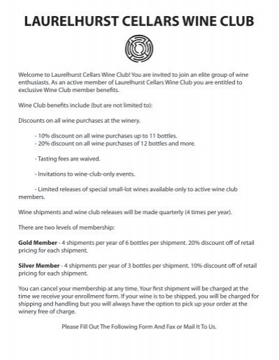 sc 1 st  Yumpu & Wine Club Application Form - Laurelhurst Cellars