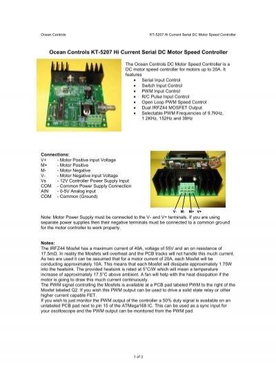 Ocean Controls KT-5207 Hi Current Serial DC Motor Speed