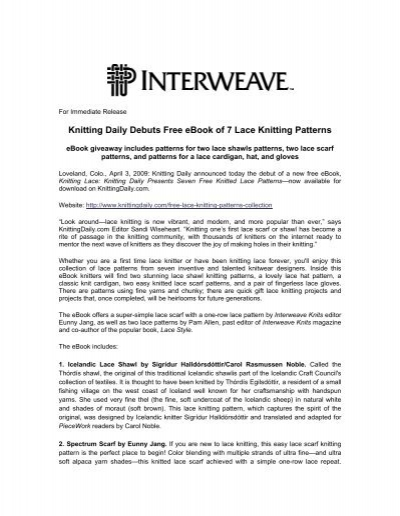 Knitting Daily Debuts Free Ebook Of 7 Lace Knitting Interweave
