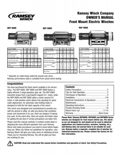 Ramsey Winch Company OWNERS MANUAL Front Mount Electric