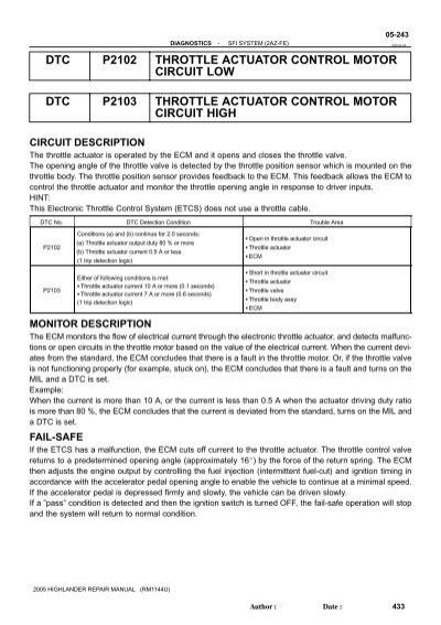 Throttle actuator control motor circuit low | Subaru Legacy