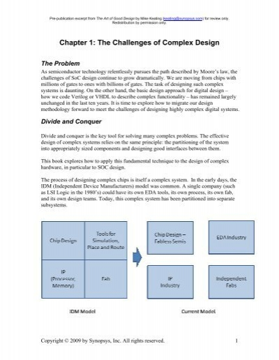 Chapter 1 The Challenges Of Complex Design Synopsys