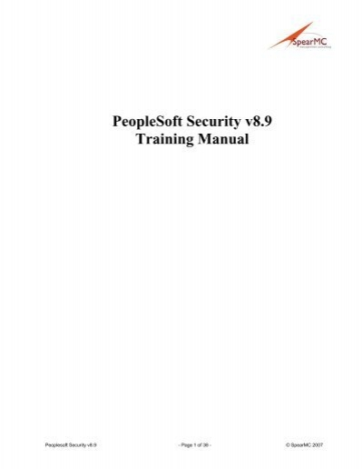 peoplesoft security v8 9 training manual spearmc consulting rh yumpu com peoplesoft training manual peoplesoft training manual general ledger