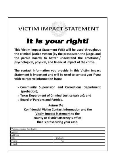 this victim impact statement vis will be used bell county