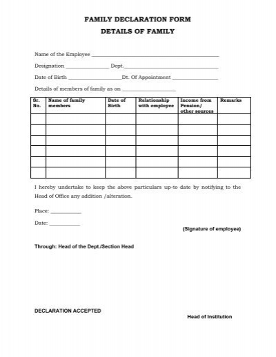 Family Declaration Form Details Of Family  Vnit
