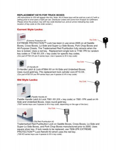 REPLACEMENT KEYS FOR TRUCK BOXES     - Weather Guard