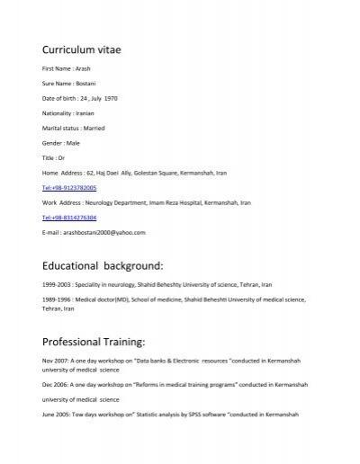 Curriculum Vitae Educational Background Professional Training
