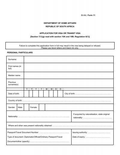 Bi 1738 Form 8 Department Of Home Affairs Republic