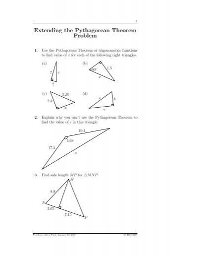 Extending The Pythagorean Theorem Problem