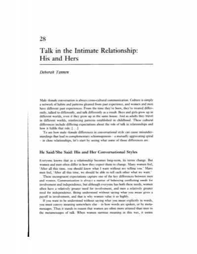 talk in the intimate relationship by deborah tannen In talk in the intimate relationship: his and hers, deborah tannen discussed the importance of communication in terms of making or breaking a relationship.