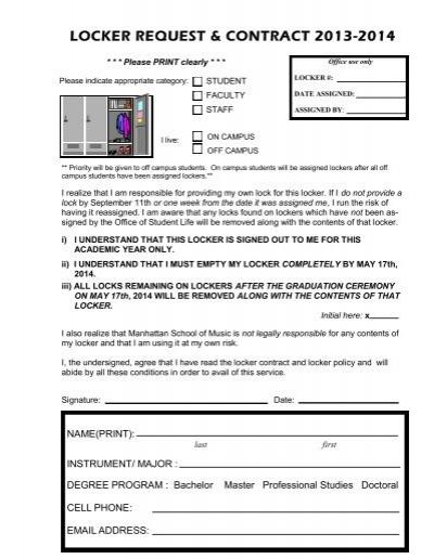Locker request form manhattan school of music altavistaventures Image collections