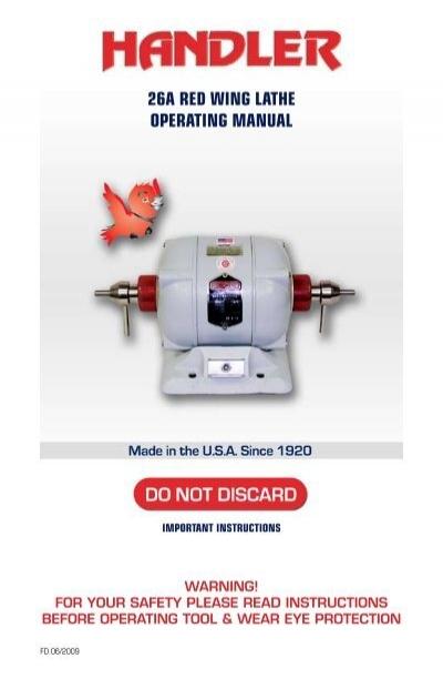 [DIAGRAM_5UK]  26a red wing lathe operating manual - Handler Manufacturing | Dental Lathe Wiring Diagram 2 Speed |  | Yumpu
