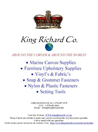 Download our Upholstery Supplies Catalog - King Richard Co