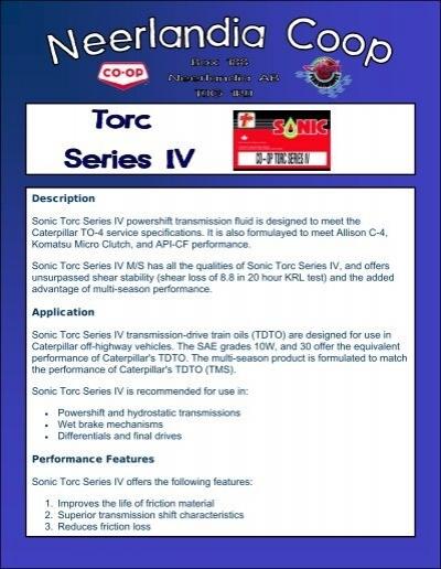 Description Sonic Torc Series IV powershift     - Neerlandia Co-op
