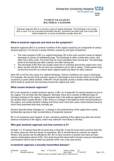PATIENT UK LEAFLET BACTERIAL VAGINOSIS What is bacterial