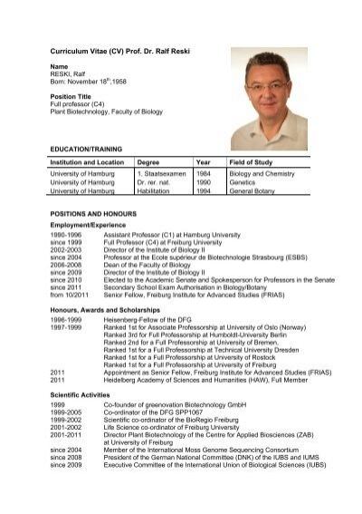 curriculum vitae  cv  prof  dr  ralf reski