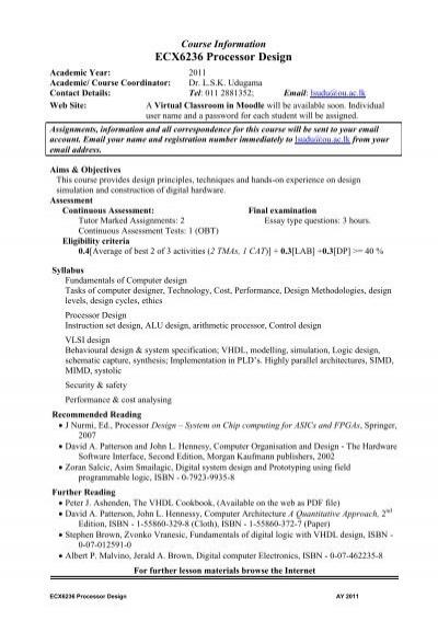 Ecx6236 Processor Design