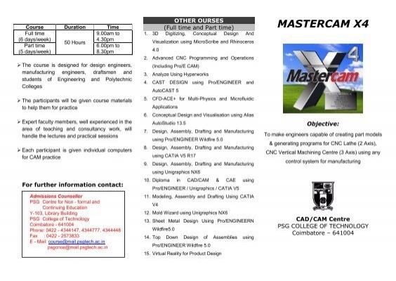 MASTERCAM X4 - PSG College of Technology