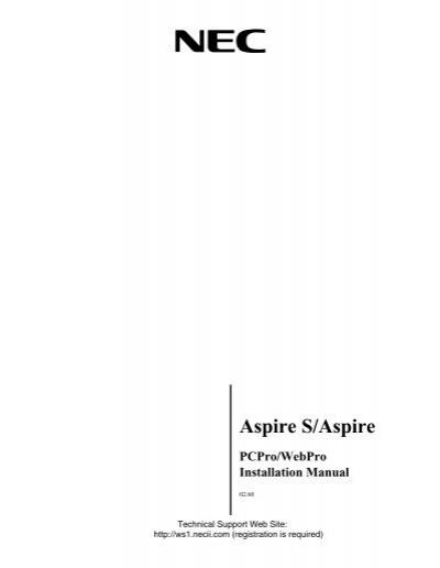 aspire pcpro webpro installation manual support nec unified rh yumpu com NEC Aspire Support NEC Aspire Support