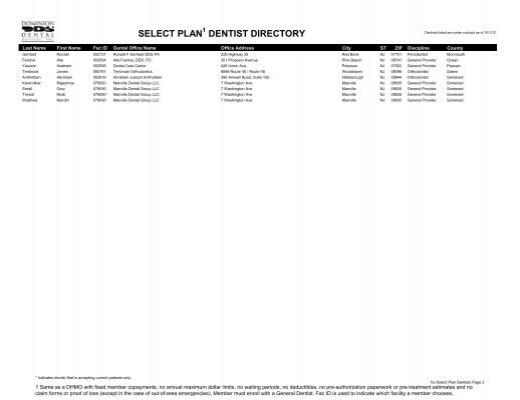Select Plan 1 Dentist Dir