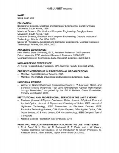 NMSU ABET resume - Klipsch School of Electrical and Computer ...