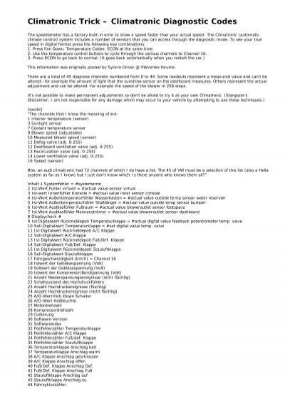 Climatronic Trick – Climatronic Diagnostic Codes