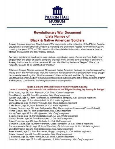 For a list of names of Black and Native American Patriots