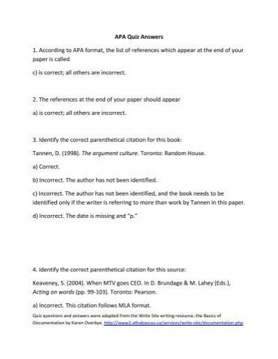 APA Quiz Answers 1 According to APA format the list of – Format for List of References