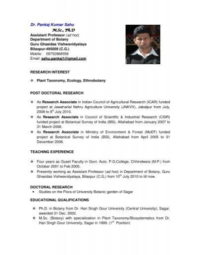 Dr  Pankaj Kumar Sahu - Guru Ghasidas University