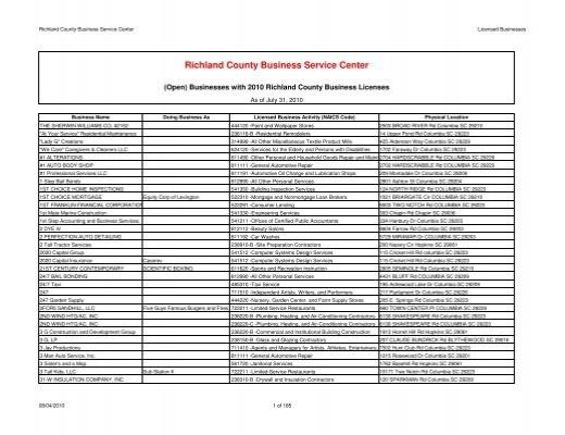 Licenses Issued 2010 08 04 Richland, Applegate Furniture Repair Columbia Sc