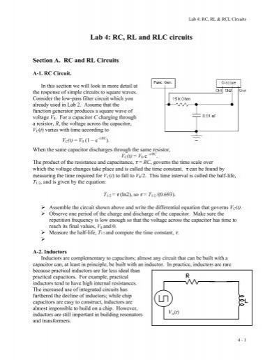 Lab 4: RC, RL and RLC circuits